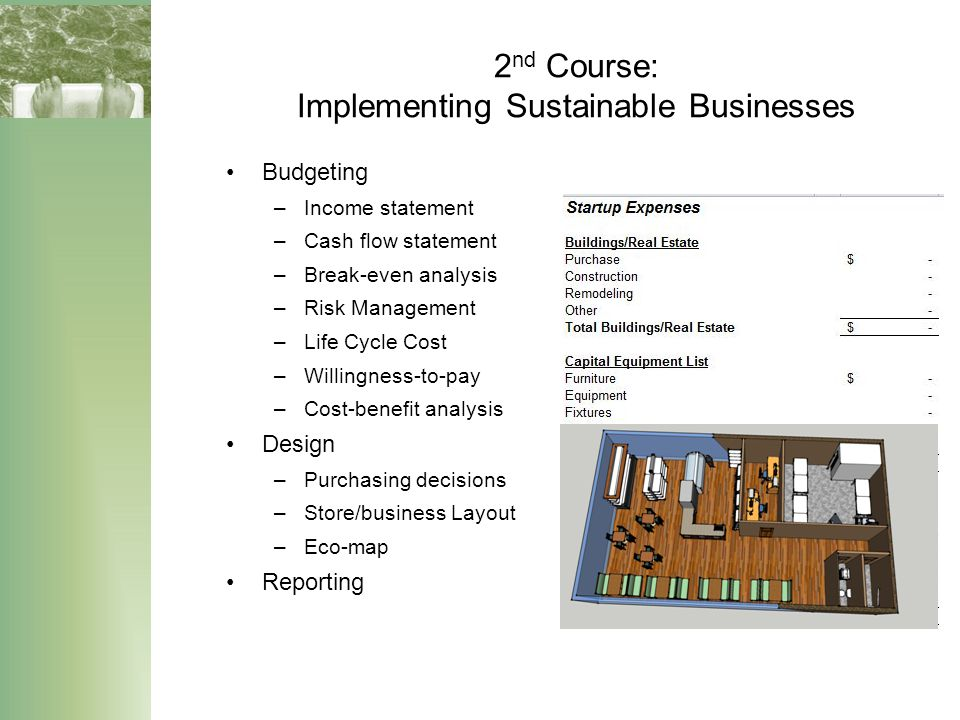 2 nd Course: Implementing Sustainable Businesses Budgeting –Income statement –Cash flow statement –Break-even analysis –Risk Management –Life Cycle Co