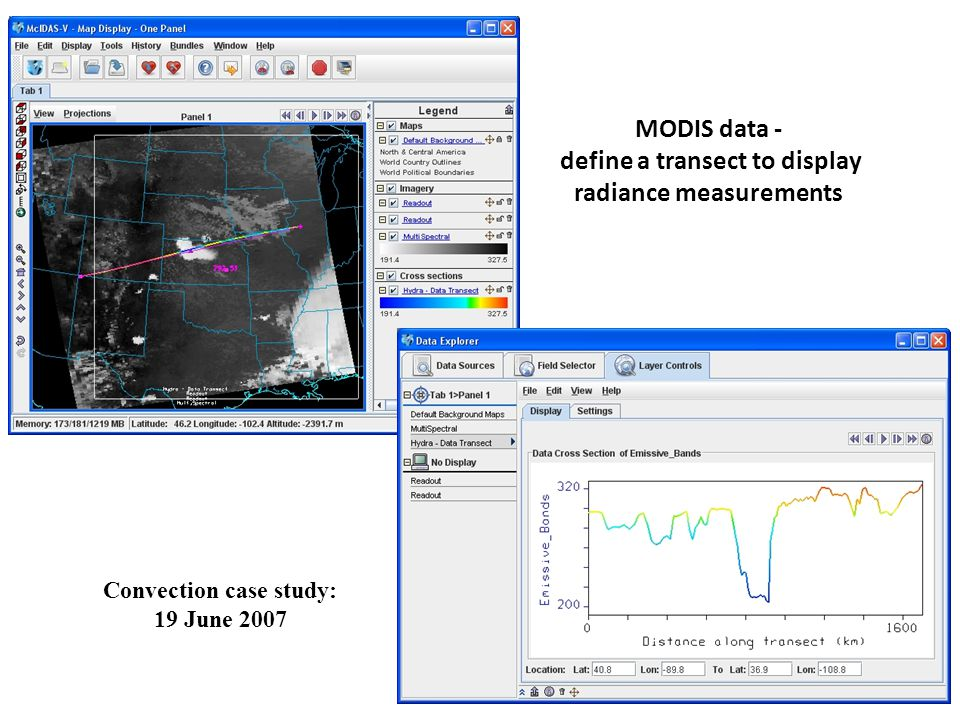 Convection case study: 19 June 2007 MODIS data - define a transect to display radiance measurements