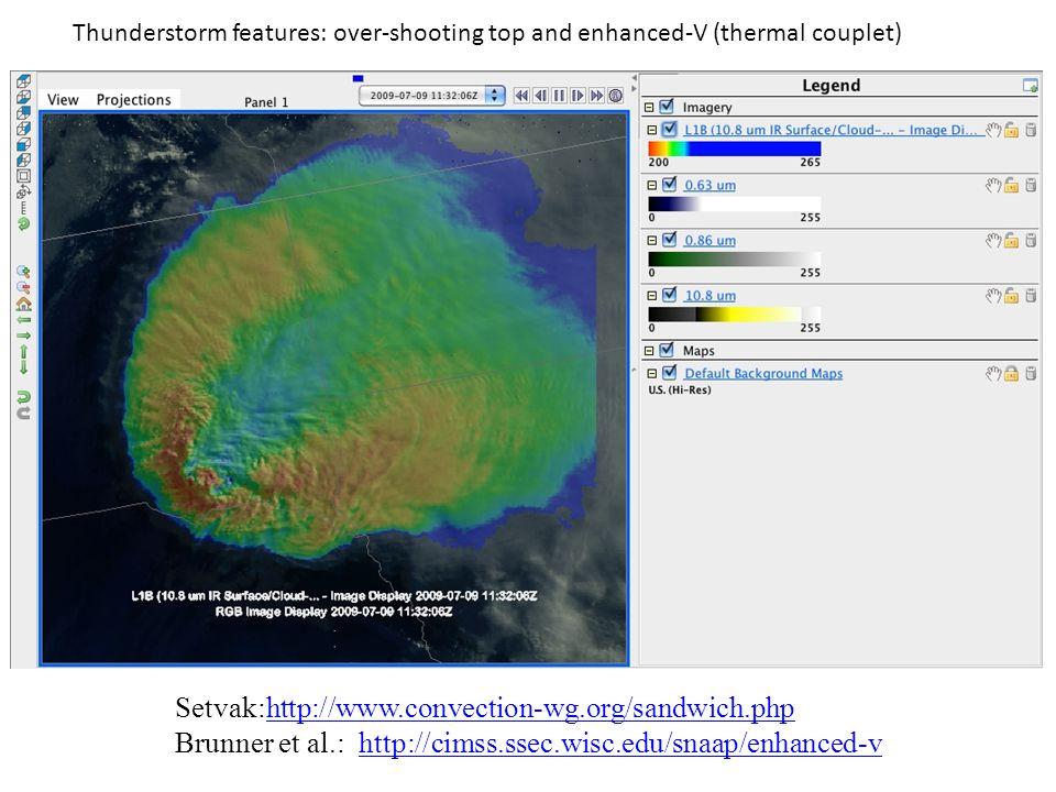 Setvak:http://www.convection-wg.org/sandwich.phphttp://www.convection-wg.org/sandwich.php Brunner et al.: http://cimss.ssec.wisc.edu/snaap/enhanced-vh
