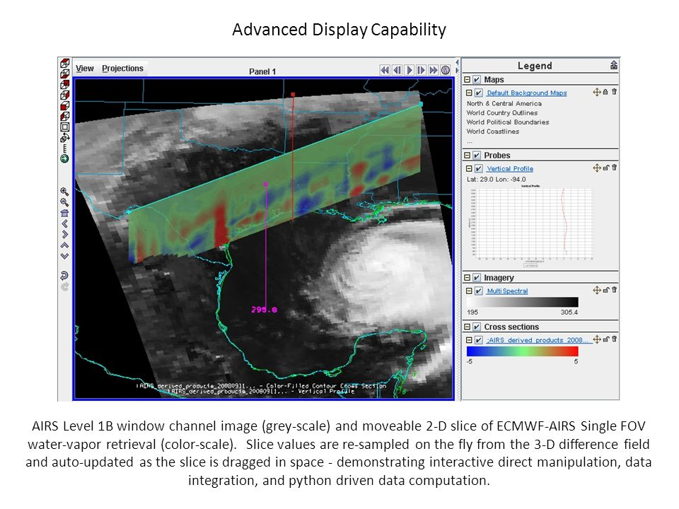 AIRS Level 1B window channel image (grey-scale) and moveable 2-D slice of ECMWF-AIRS Single FOV water-vapor retrieval (color-scale). Slice values are