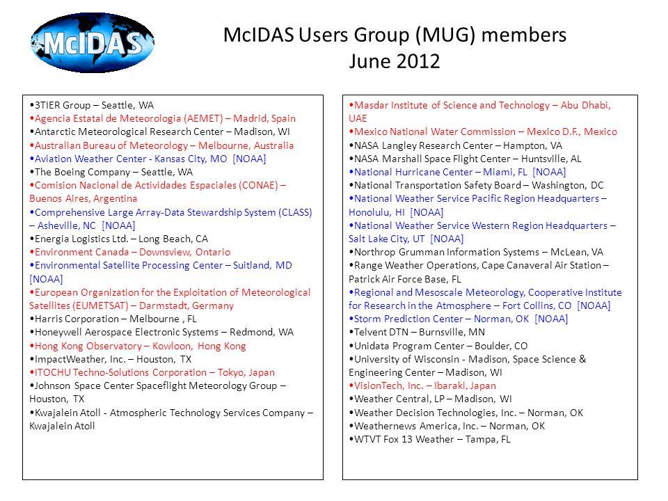 McIDAS Users Group (MUG) members June 2012 3TIER Group – Seattle, WA Agencia Estatal de Meteorologia (AEMET) – Madrid, Spain Antarctic Meteorological