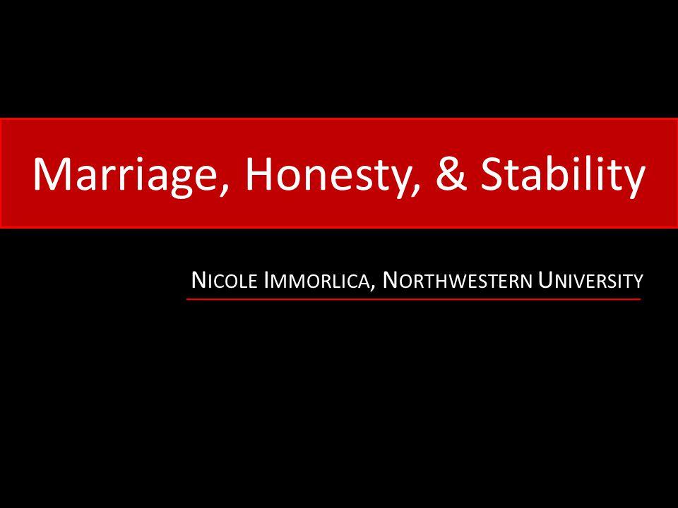 Marriage, Honesty, & Stability N ICOLE I MMORLICA, N ORTHWESTERN U NIVERSITY