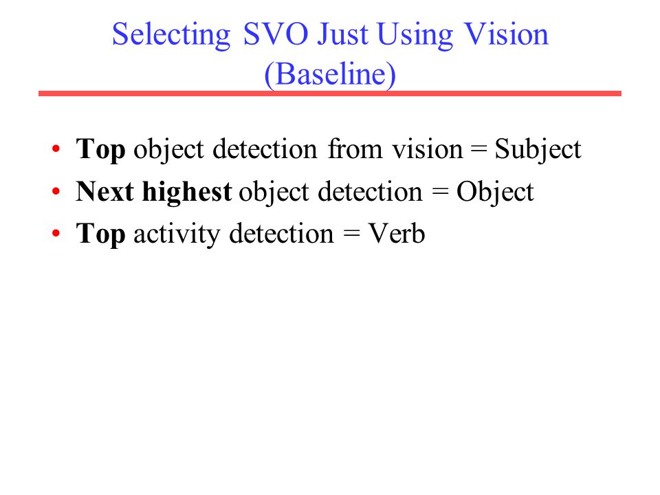 Selecting SVO Just Using Vision (Baseline) Top object detection from vision = Subject Next highest object detection = Object Top activity detection = Verb