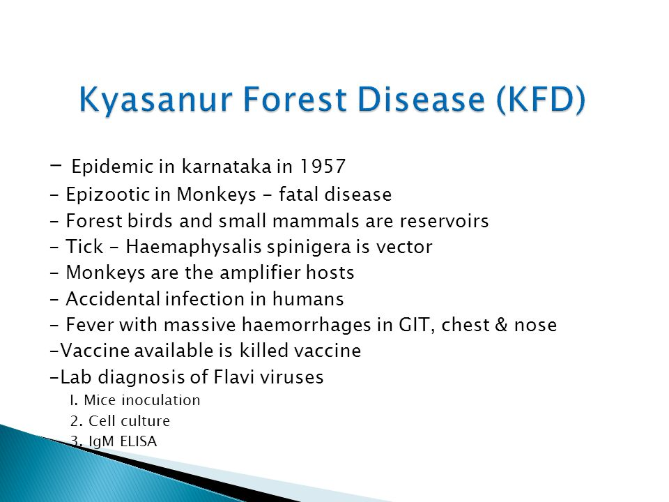 - Epidemic in karnataka in 1957 - Epizootic in Monkeys - fatal disease - Forest birds and small mammals are reservoirs - Tick - Haemaphysalis spinigera is vector - Monkeys are the amplifier hosts - Accidental infection in humans - Fever with massive haemorrhages in GIT, chest & nose -Vaccine available is killed vaccine -Lab diagnosis of Flavi viruses I.