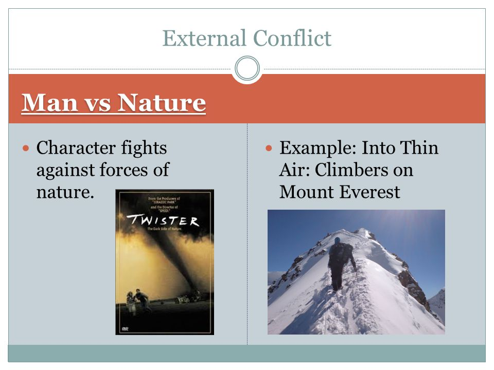 Man vs Nature Character fights against forces of nature. Example: Into Thin Air: Climbers on Mount Everest External Conflict