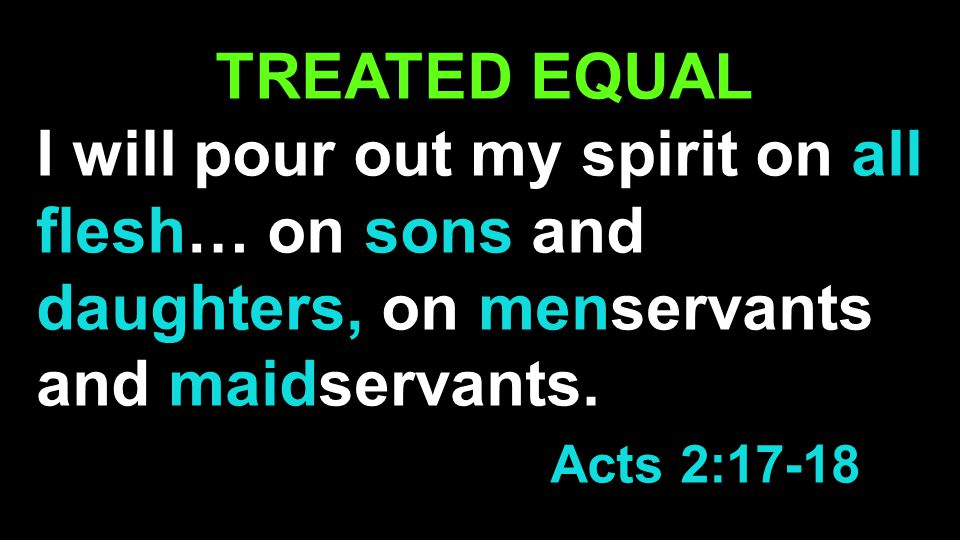 TREATED EQUAL I will pour out my spirit on all flesh… on sons and daughters, on menservants and maidservants.