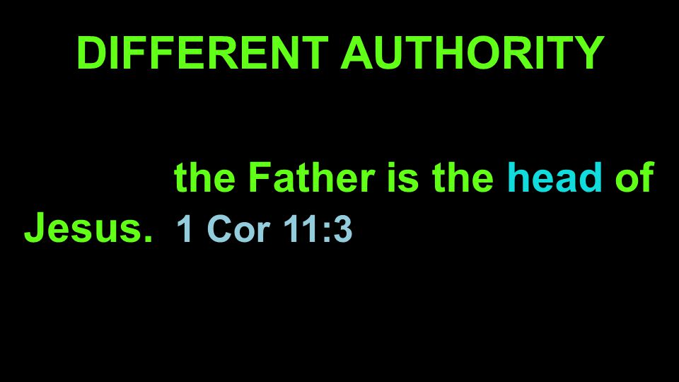 DIFFERENT AUTHORITY The husband is the head of the wife as the Father is the head of Jesus.