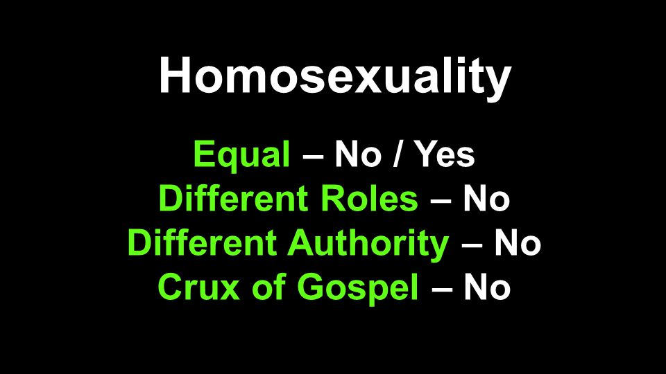 Homosexuality Equal – No / Yes Different Roles – No Different Authority – No Crux of Gospel – No