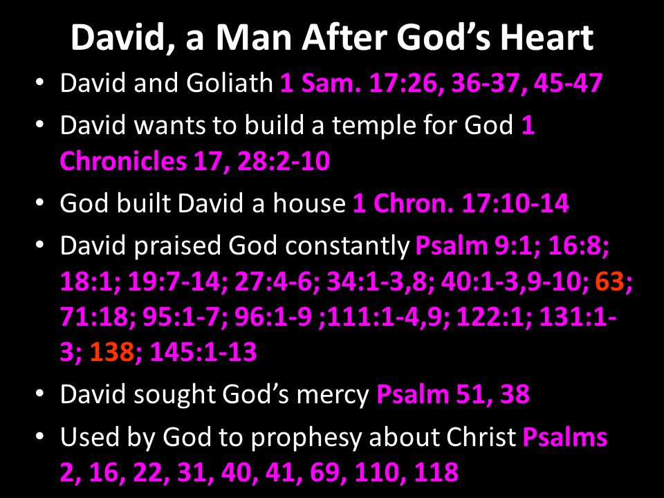 David, a Man After Gods Heart David and Goliath 1 Sam.