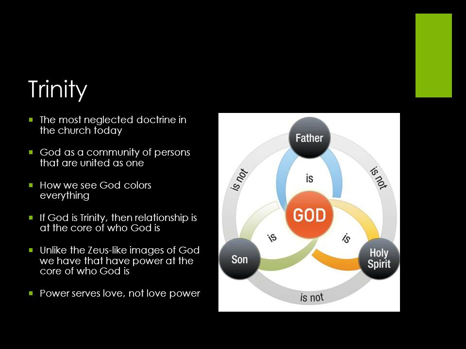The most neglected doctrine in the church today God as a community of persons that are united as one How we see God colors everything If God is Trinit