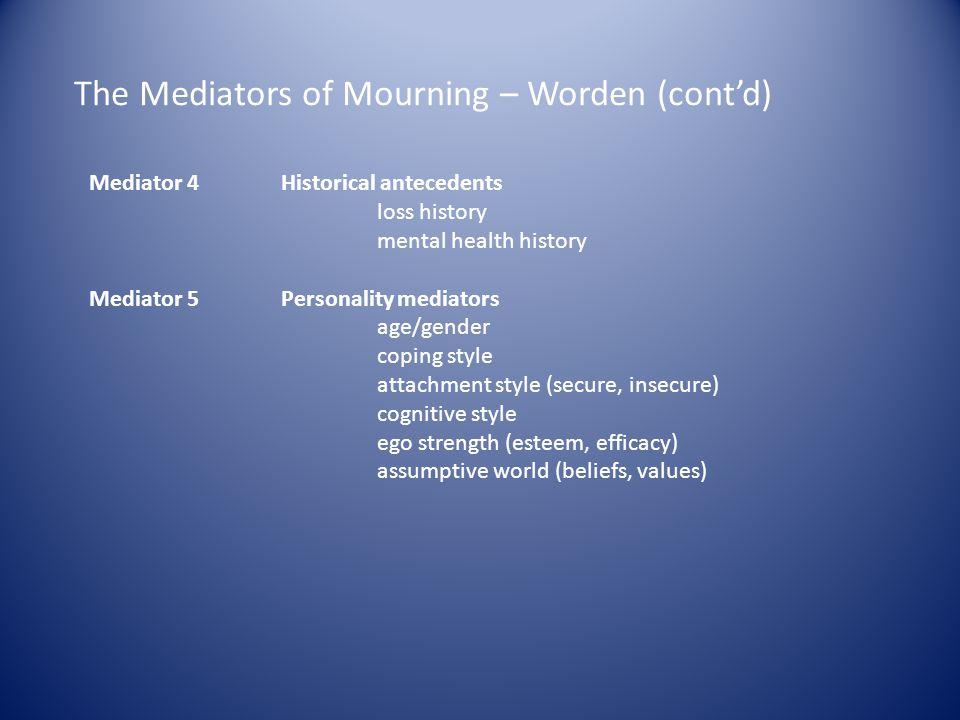 The Mediators of Mourning – Worden (contd) Mediator 4 Historical antecedents loss history mental health history Mediator 5 Personality mediators age/g