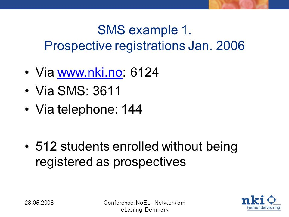 SMS example 1. Prospective registrations Jan.