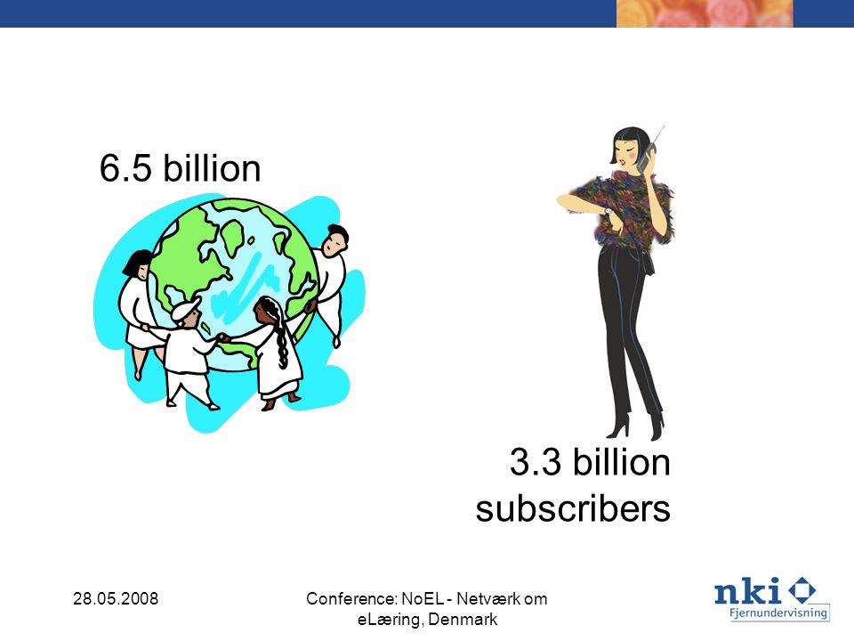 6.5 billion 28.05.2008Conference: NoEL - Netværk om eLæring, Denmark 3.3 billion subscribers