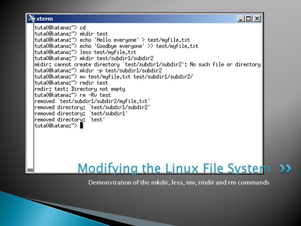 Demonstration of the mkdir, less, mv, rmdir and rm commands Modifying the Linux File System