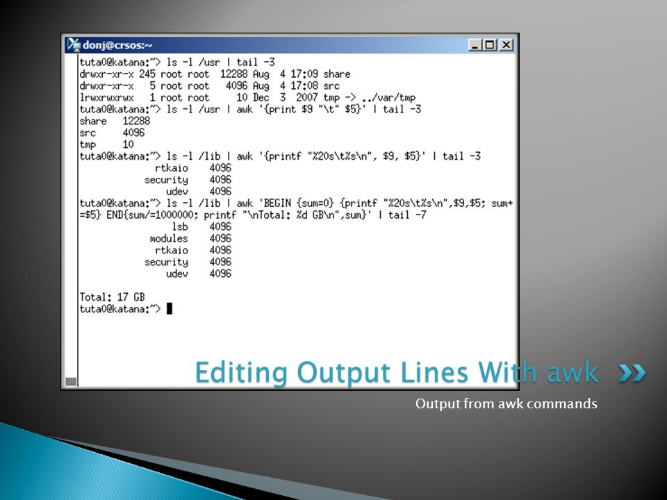 Output from awk commands Editing Output Lines With awk