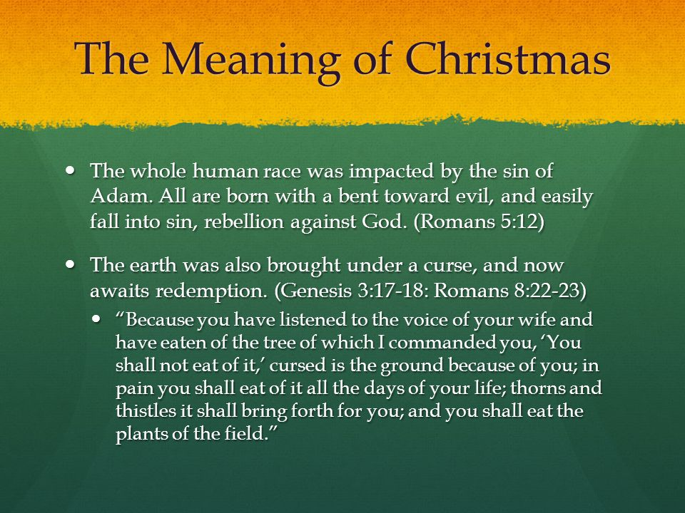 The Meaning of Christmas Every person on the planet is in need of redemption (salvation) because of his/her sin against God.