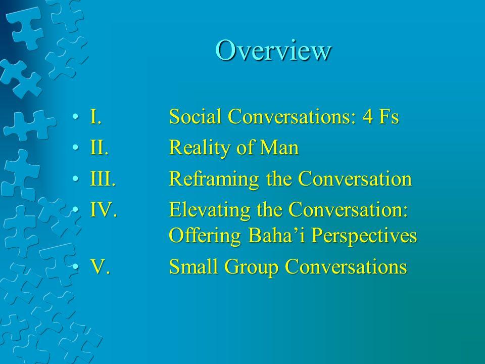 Overview I. Social Conversations: 4 FsI. Social Conversations: 4 Fs II.Reality of ManII.Reality of Man III.Reframing the ConversationIII.Reframing the