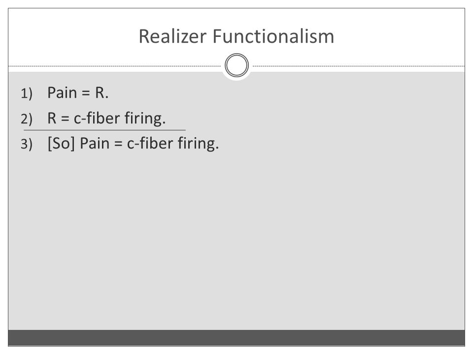 Realizer Functionalism 1) Pain = R. 2) R = c-fiber firing. 3) [So] Pain = c-fiber firing.