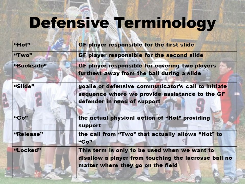 Defensive Terminology HotGF player responsible for the first slide TwoGF player responsible for the second slide Backside GF player responsible for co