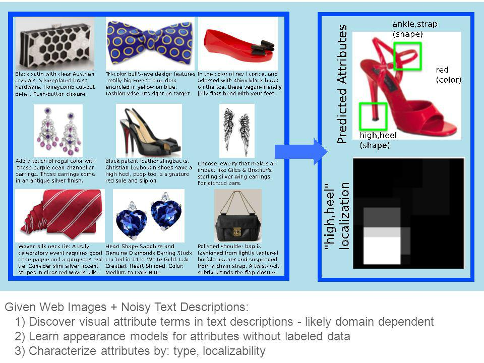 Given Web Images + Noisy Text Descriptions: 1) Discover visual attribute terms in text descriptions - likely domain dependent 2) Learn appearance mode