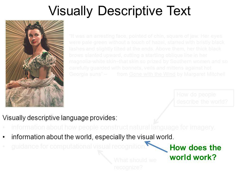 Visually Descriptive Text Visually descriptive language provides: information about how people construct natural language for imagery. information abo