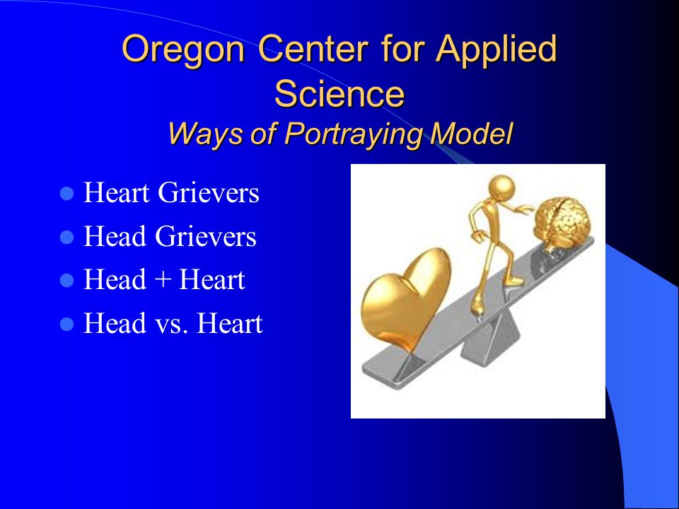 Oregon Center for Applied Science Ways of Portraying Model Heart Grievers Head Grievers Head + Heart Head vs.