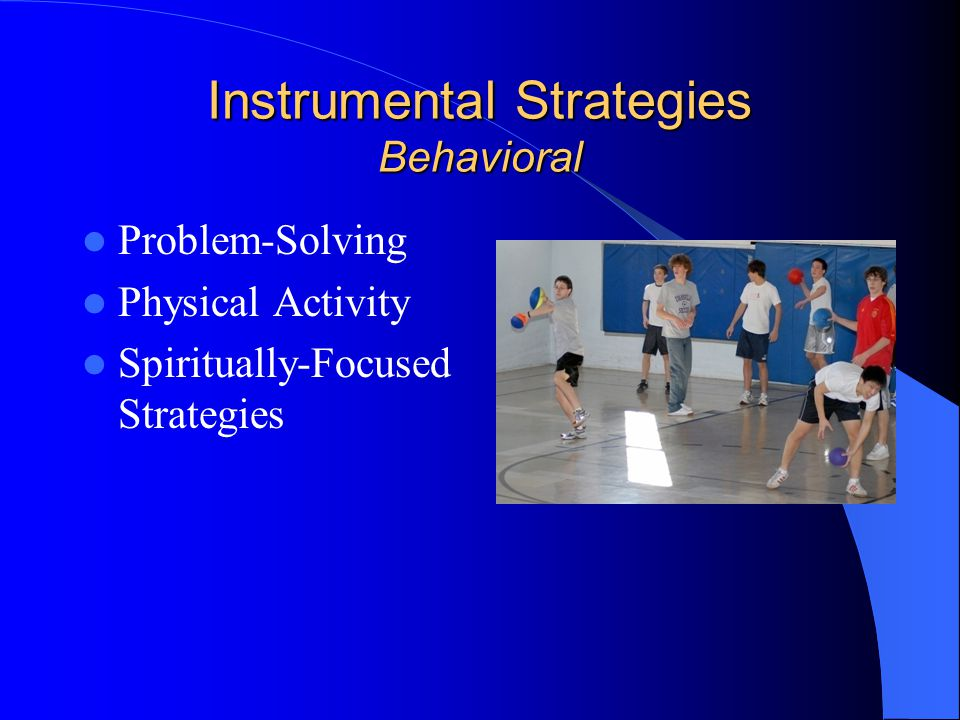 Instrumental Strategies Behavioral Problem-Solving Physical Activity Spiritually-Focused Strategies