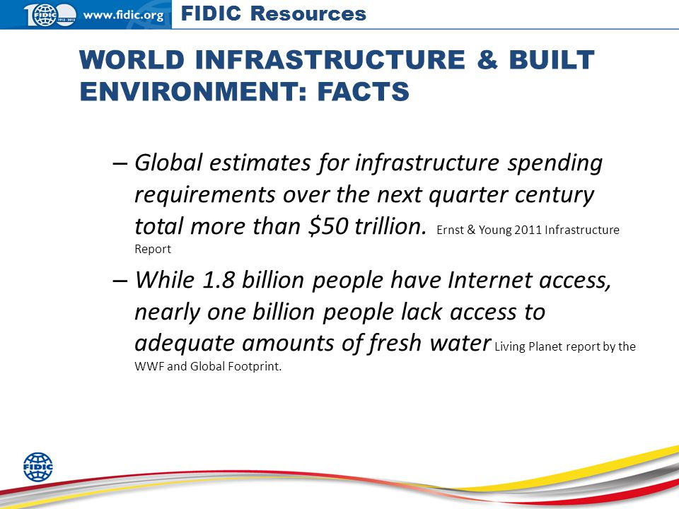 WORLD INFRASTRUCTURE & BUILT ENVIRONMENT: FACTS – Global estimates for infrastructure spending requirements over the next quarter century total more than $50 trillion.