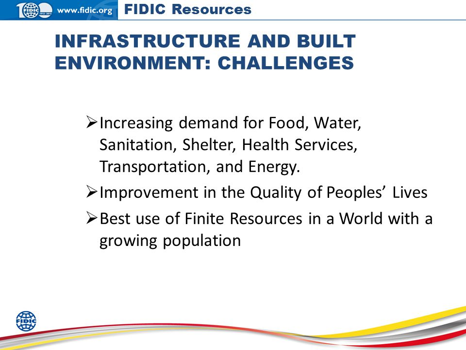 INFRASTRUCTURE AND BUILT ENVIRONMENT: CHALLENGES Increasing demand for Food, Water, Sanitation, Shelter, Health Services, Transportation, and Energy.