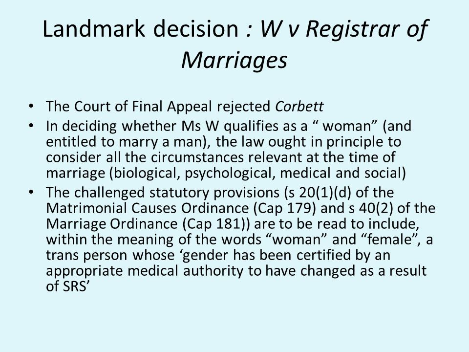 Gender Recognition –Legal Requirements.