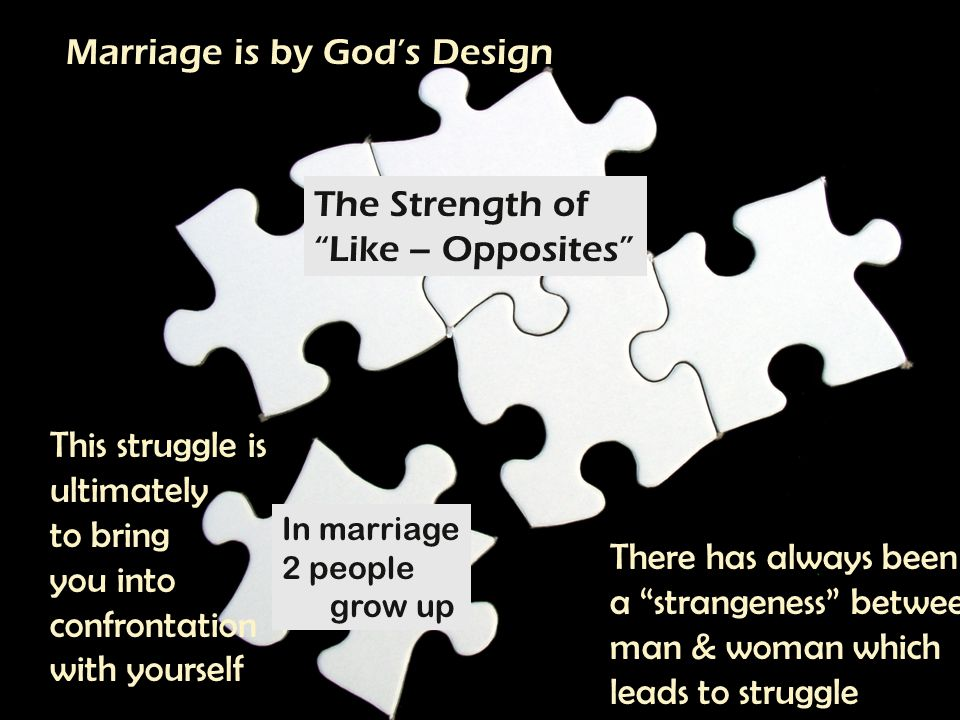 THE MEANING OF MARRIAGE Marriage Is by Gods Design God brings the woman to man for a covenantal relationship which God forms Haven t you read, he replied, that at the beginning the Creator made them male and female, and said, For this reason a man will leave his father and mother and be united to his wife, and the two will become one flesh So they are no longer two, but one.