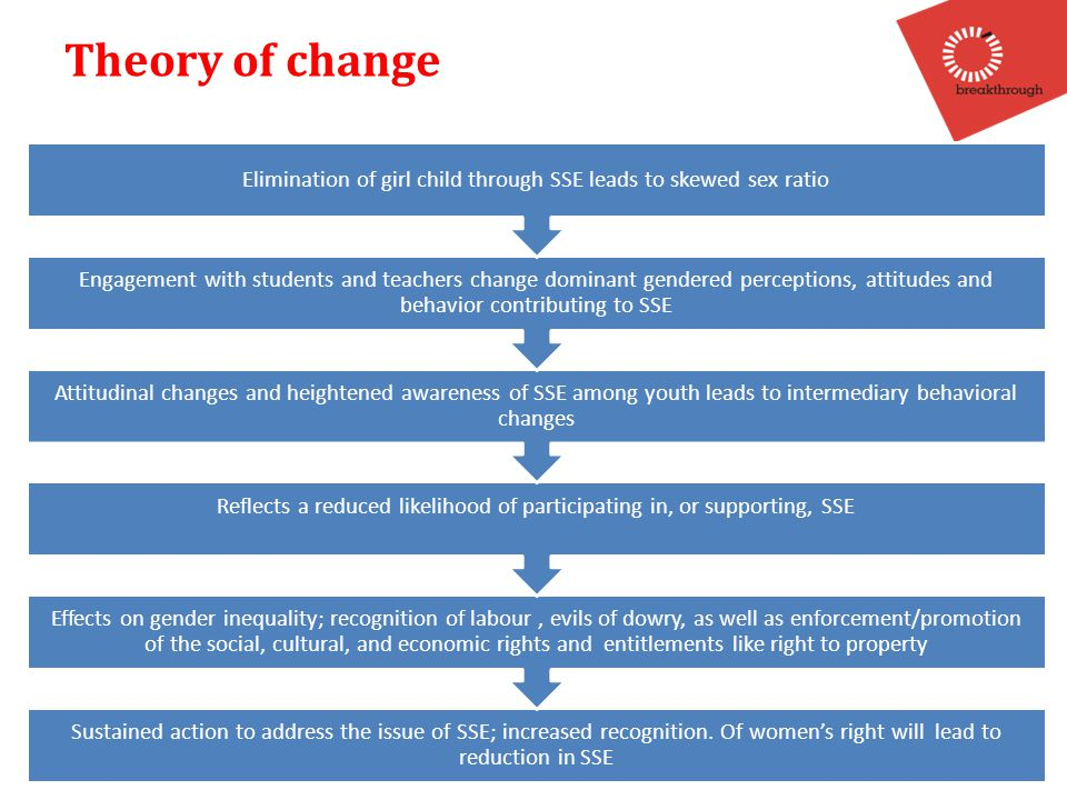 Theory of change Sustained action to address the issue of SSE; increased recognition.