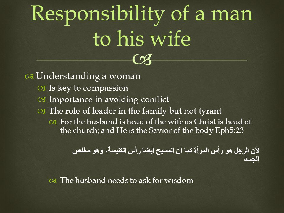 Understanding a woman Is key to compassion Importance in avoiding conflict The role of leader in the family but not tyrant For the husband is head of the wife as Christ is head of the church; and He is the Savior of the body Eph5:23 لأن الرجل هو رأس المرأة كما أن المسيح أيضا رأس الكنيسة، وهو مخلص الجسد The husband needs to ask for wisdom Responsibility of a man to his wife