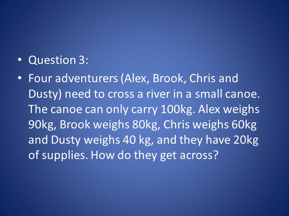 Question 3: Four adventurers (Alex, Brook, Chris and Dusty) need to cross a river in a small canoe. The canoe can only carry 100kg. Alex weighs 90kg,