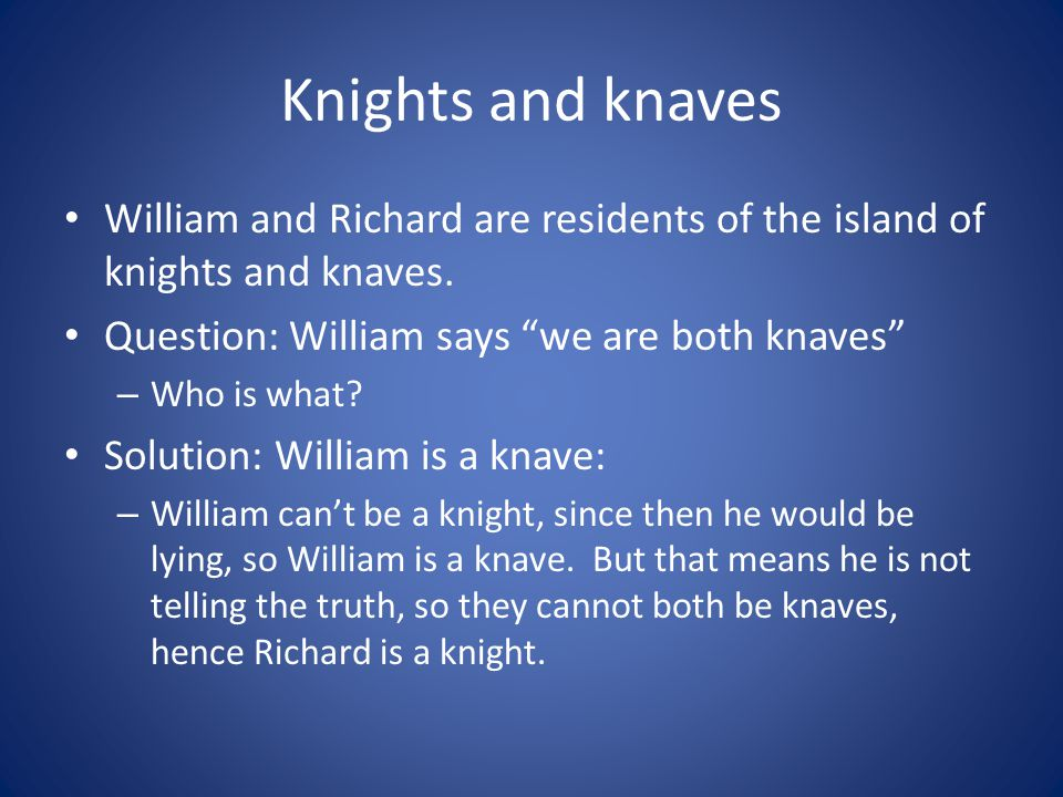 Knights and knaves William and Richard are residents of the island of knights and knaves. Question: William says we are both knaves – Who is what? Sol