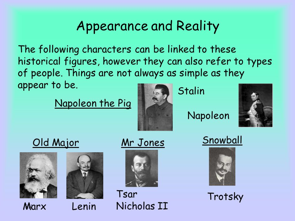 SK Appearance and Reality The following characters can be linked to these historical figures, however they can also refer to types of people. Things a