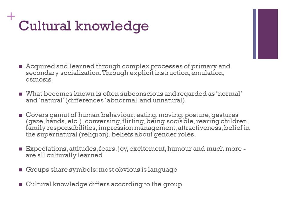 + Cultural knowledge Acquired and learned through complex processes of primary and secondary socialization.