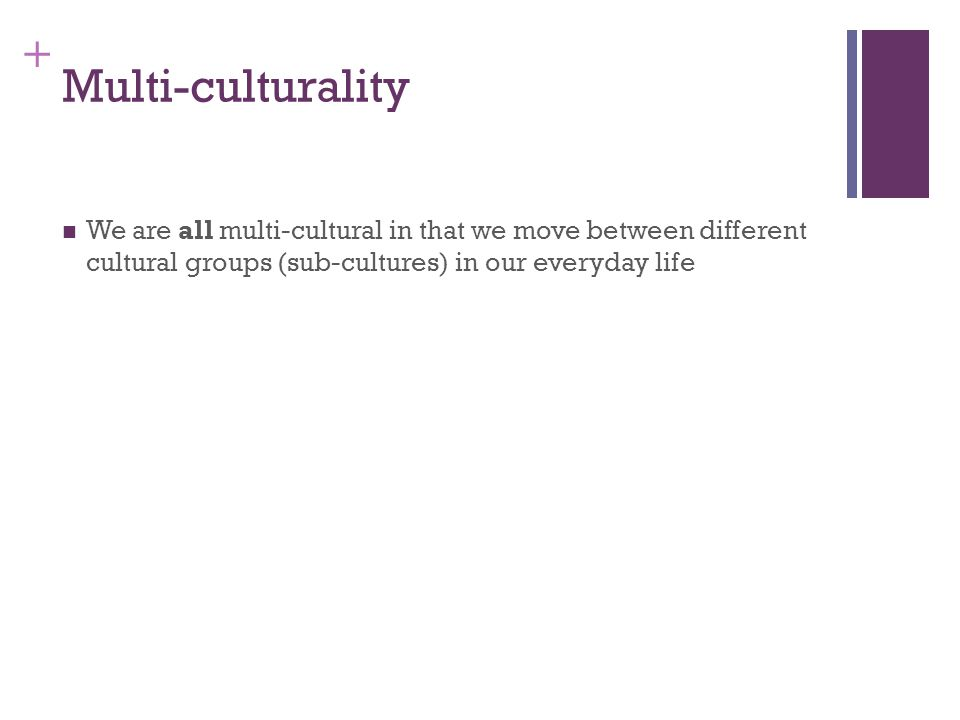+ Multi-culturality We are all multi-cultural in that we move between different cultural groups (sub-cultures) in our everyday life