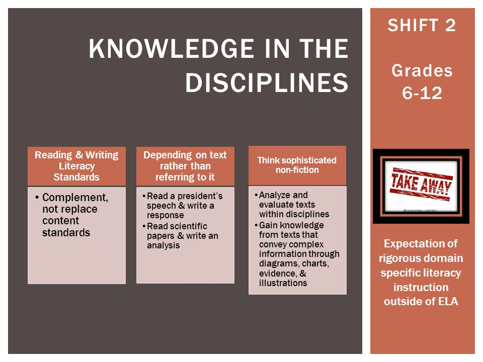 SHIFT 2 Grades 6-12 KNOWLEDGE IN THE DISCIPLINES Reading & Writing Literacy Standards Complement, not replace content standards Depending on text rather than referring to it Read a presidents speech & write a response Read scientific papers & write an analysis Think sophisticated non-fiction Analyze and evaluate texts within disciplines Gain knowledge from texts that convey complex information through diagrams, charts, evidence, & illustrations Expectation of rigorous domain specific literacy instruction outside of ELA