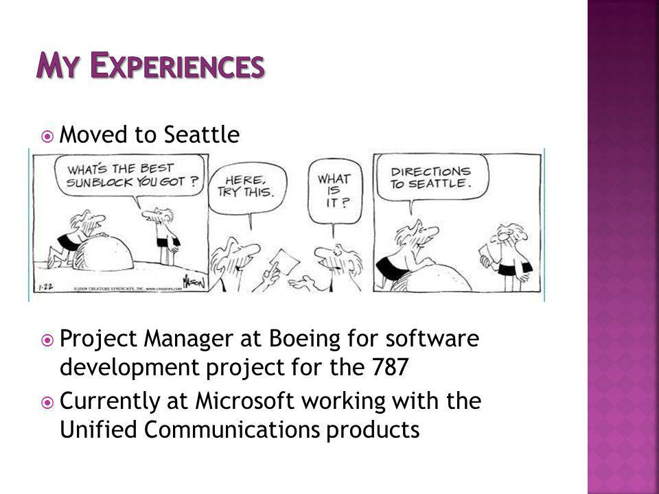 Moved to Seattle Project Manager at Boeing for software development project for the 787 Currently at Microsoft working with the Unified Communications