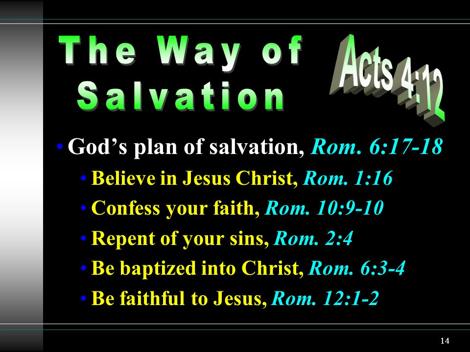14 Gods plan of salvation, Rom. 6:17-18 Believe in Jesus Christ, Rom.