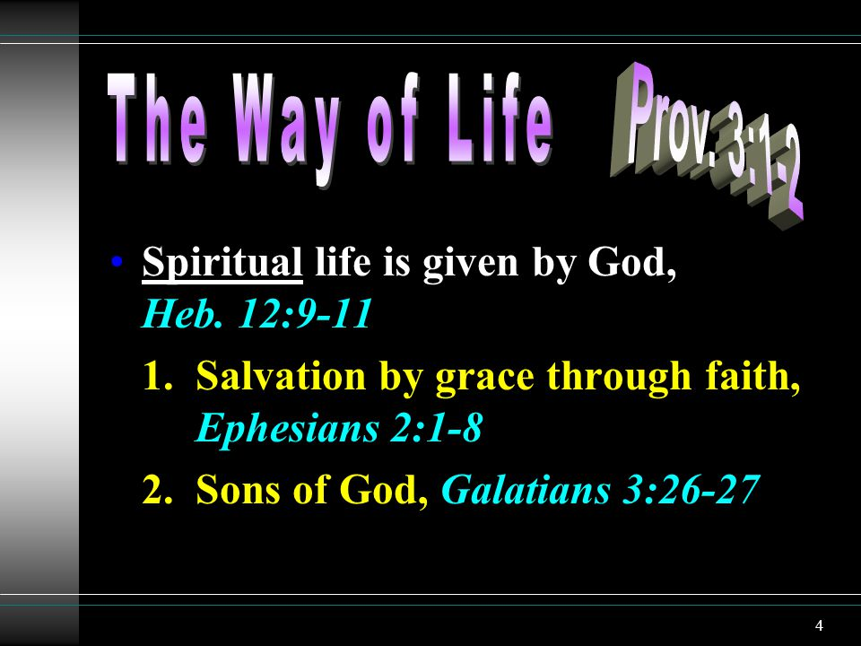 4 Spiritual life is given by God, Heb. 12:9-11 1.