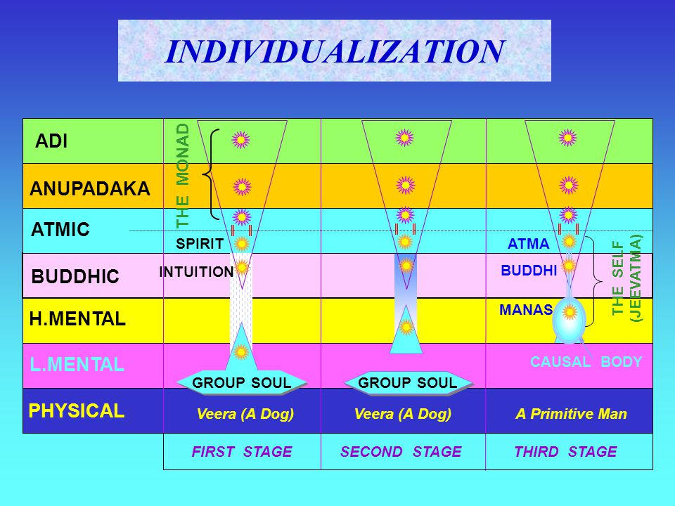 ADI ANUPADAKA ATMIC BUDDHIC H.MENTAL L.MENTAL PHYSICAL FIRST STAGE SECOND STAGE THIRD STAGE THE MONAD SPIRIT INTUITION GROUP SOUL ATMA BUDDHI MANAS TH