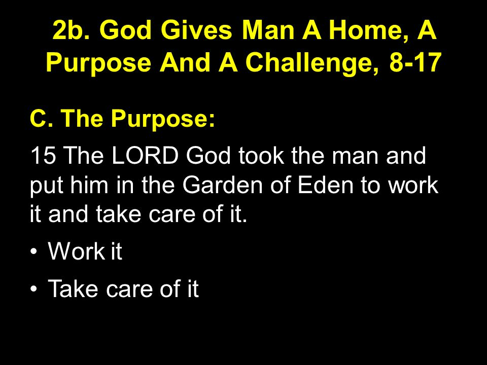 2b. God Gives Man A Home, A Purpose And A Challenge, 8-17 C.