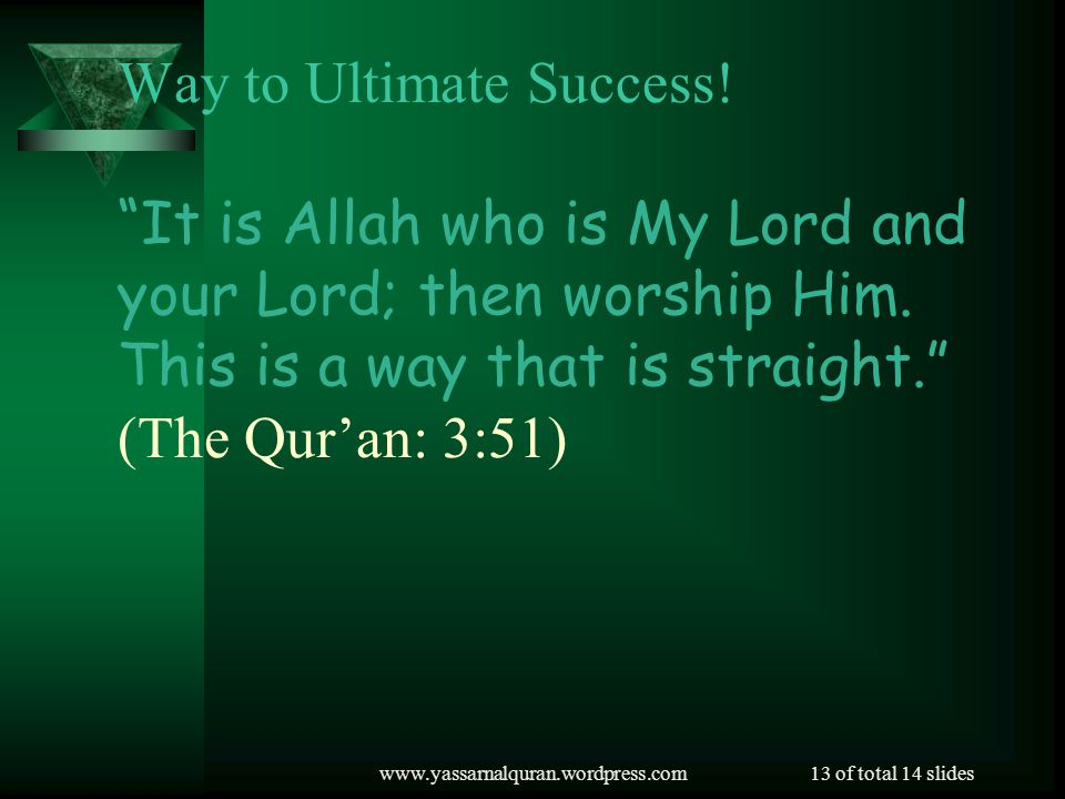 www.yassarnalquran.wordpress.com13 of total 14 slides Way to Ultimate Success.