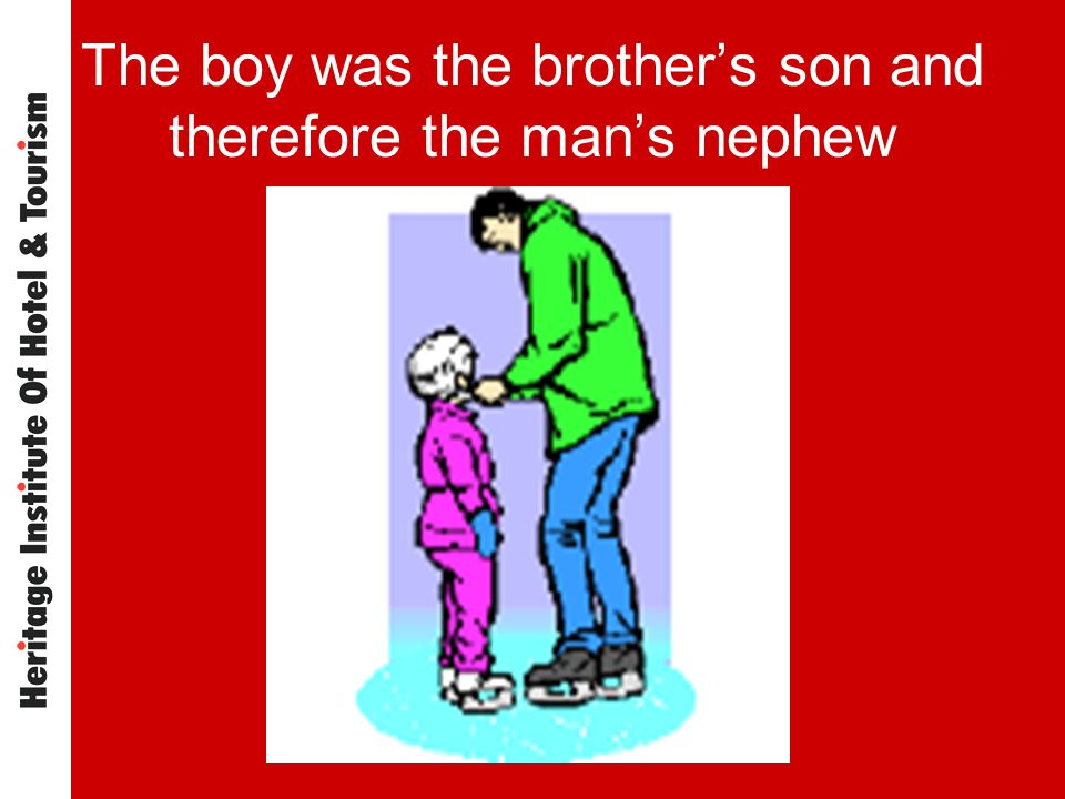 The boy was the brothers son and therefore the mans nephew
