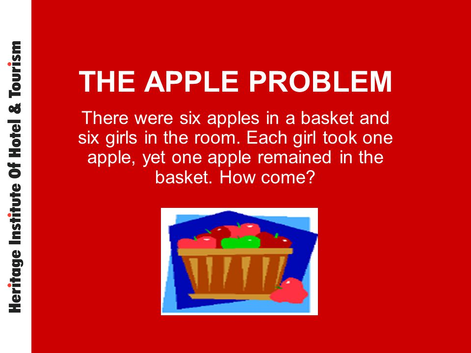 THE APPLE PROBLEM There were six apples in a basket and six girls in the room. Each girl took one apple, yet one apple remained in the basket. How com