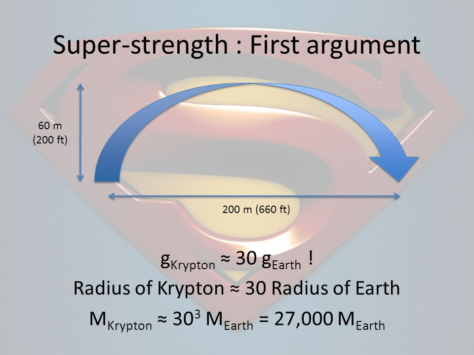 60 m (200 ft) 200 m (660 ft) g Krypton 30 g Earth .