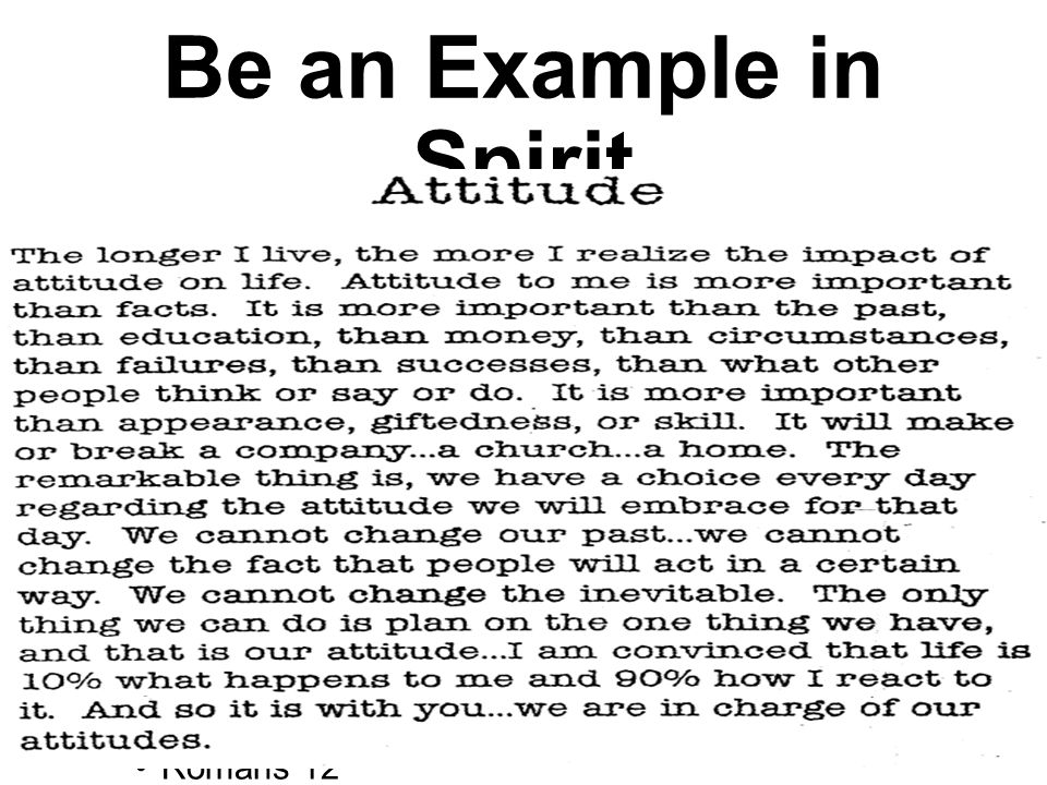 Be an Example in Faith You are the church of tomorrow.
