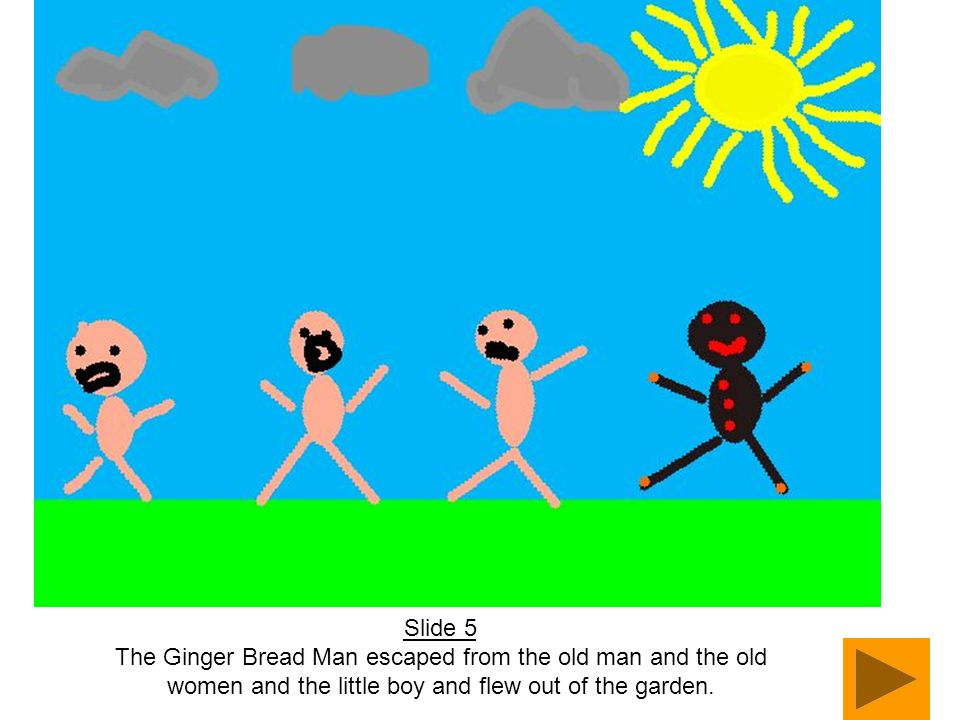 Slide 5 The Ginger Bread Man escaped from the old man and the old women and the little boy and flew out of the garden.